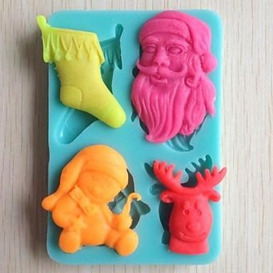 Weihnachtsbaum Glocke Geschenk Bär Fondantkuchen Schokolade Silikonform Kuchen Dekorationswerkzeuge, l10.6cm * w7.3cm * h1.1cm