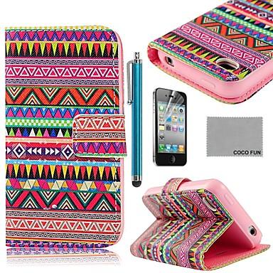 Coco fun® tapete tribal de couro vermelho pu caso de corpo inteiro com protetor de tela, suporte e stylus para iphone 4 / 4s