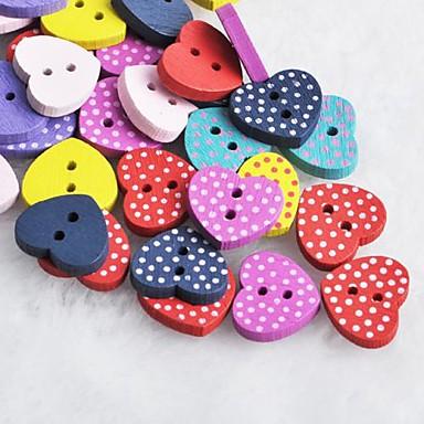 dot hartvormige scrapbook scraft naaien diy houten knopen (10 stuks willekeurige kleur)