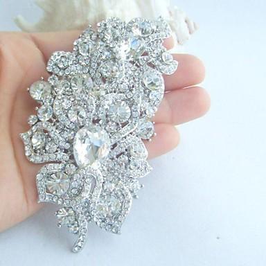 femei din aliaj de modă de argint-ton stras de cristal flori de nunta brosa de mireasă