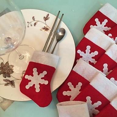 6pcs / set kerst sneeuw kous bestek servies houder decoratie