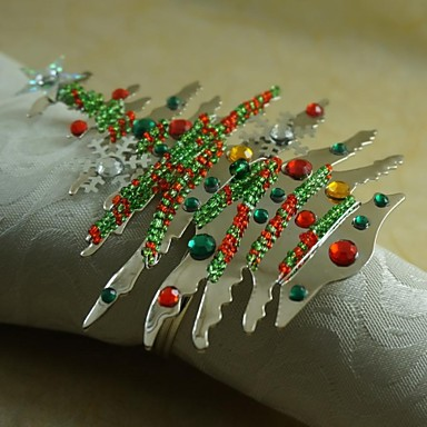 kleurrijke kerstboom servetring vele kleuren, acryl, 4,5 cm, set van 12