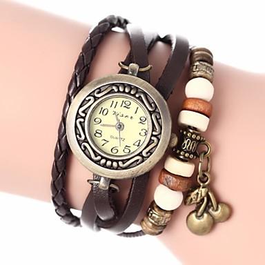 Mulheres Bracele Relógio PU Banda Boêmio / Fashion Preta / Branco / Azul / Um ano / Jinli 377