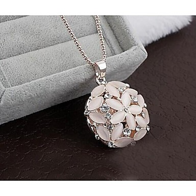cheap Necklaces-Women's Synthetic Opal Cat's Eye Pendant Necklace Flower Ladies Rhinestone Opal Alloy Necklace Jewelry For Wedding Party Daily Casual Sports