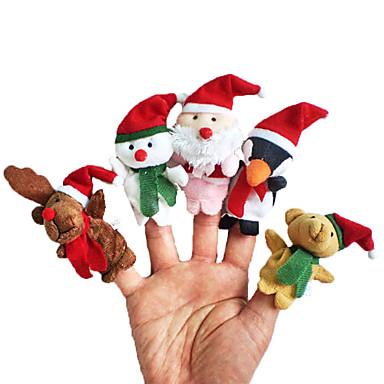 Χριστούγεννα Santa Suits Elk Χιονάνθρωπος Μαριονέτες δακτύλου Ζώα Ομιλία Κινούμενα σχέδια Υφασμα Χνουδωτό Κοριτσίστικα Δώρο 5pcs