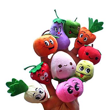 Lächelndes Gesicht Frucht Fingerpuppen Marionetten Niedlich Talk Prop lieblich Neuartige Zeichentrick Textil Plüsch Mädchen Geschenk 10pcs