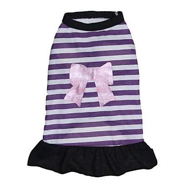 חתול כלב שמלות בגדים לכלבים פס סגול כותנה תחפושות עבור חיות מחמד בגדי ריקוד נשים יום יומי\קז'ואל אופנתי