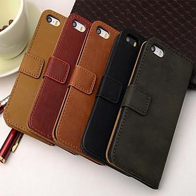 stil portofel din piele PU caz corp plin cu stativ și slot pentru card pentru iPhone 5 / 5s