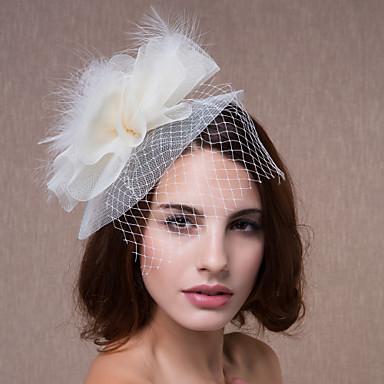 Mulheres Penas Tule Capacete-Casamento Ocasião Especial Flores