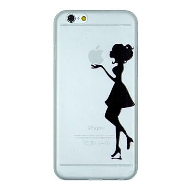 Para Capinha iPhone 6 / Capinha iPhone 6 Plus Áspero / Translúcido / Estampada Capinha Capa Traseira Capinha Brincadeira Com Logo da Apple