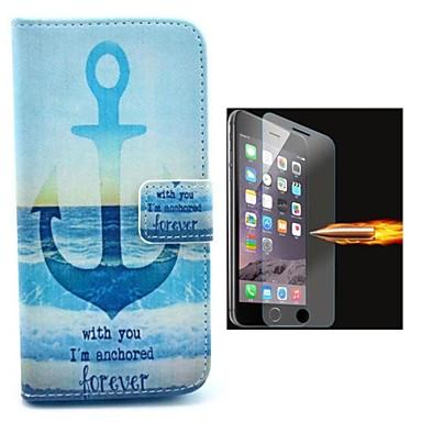 het schip voor anker oattern pu lederen full body case met explosieveilige glazen film voor de iPhone 6
