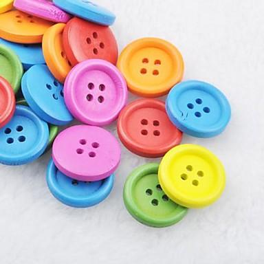 botones de madera diy soild bloc de notas de color Scraft de coser (10 piezas color al azar)