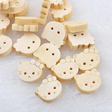 cabeça de gato recados scraft costura botões de madeira diy (10 peças)