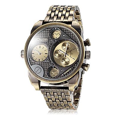levne Pánské-Oulm Pánské Vojenské hodinky Náramkové hodinky Letecké hodinky Křemenný Japonské Quartz Nerez Černá / Hnědá / Brązowy Hodinky s dvojitým časem Analogové Luxus - Černá Hnědá Bronzová Dva roky