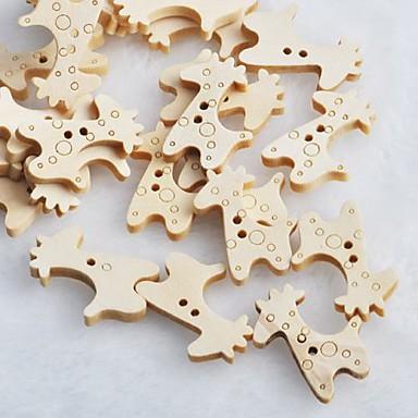 10pcs καμηλοπάρδαλη scrapbook scrapbook ράψιμο DIY χαριτωμένα ξύλινα κουμπιά