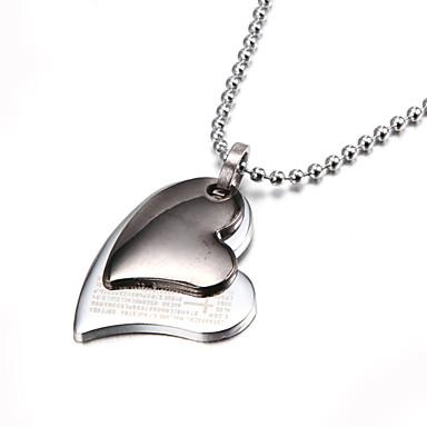 twee lagen zilveren bijbel hart zinklegering hanger ketting