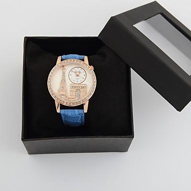 De gepersonaliseerde modieuze vrouwen horloge luxe diamant eiffeltoren pu band