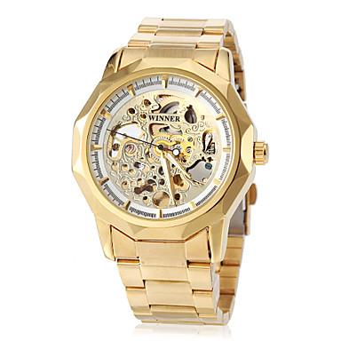 WINNER Herrn Armbanduhr Mechanische Uhr Automatikaufzug Transparentes Ziffernblatt Edelstahl Band Analog Luxus Schmetterling Gold - Weiß Schwarz