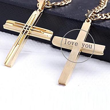 gepersonaliseerde gift gouden kleur kruis vormige RVS gegraveerd sieraden