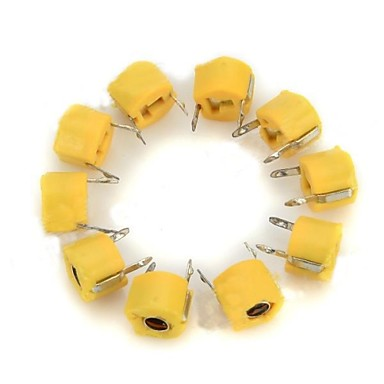 40pf capacitores variáveis / ajustáveis 6 milímetros de plástico - amarelo (10 pcs)