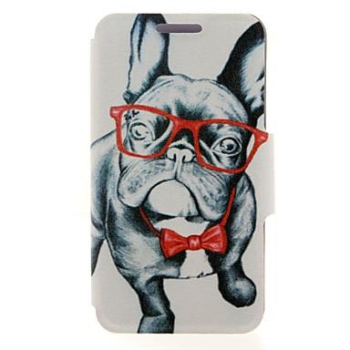 kinston glas hond dierlijk patroon pu leer full body case met standaard voor de iPhone 5 / 5s