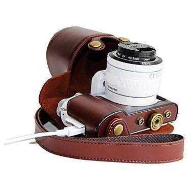 pajiatu® pu carregamento de couro padrão de câmera caso capa protetora saco para samsung NX3000 com lente 20-50mm