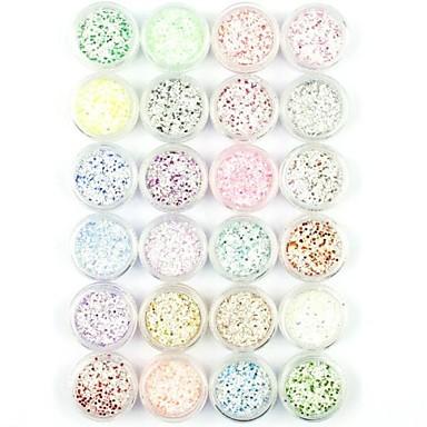 24pcs sneeuwvlok nail art glitter poeder nail art folie poeder arylic poeder voor nagel decoratie