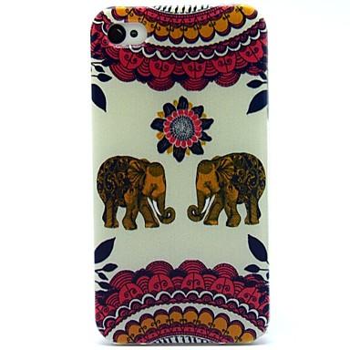 o pereche de model elefant TPU caz moale pentru iPhone 4 / 4S
