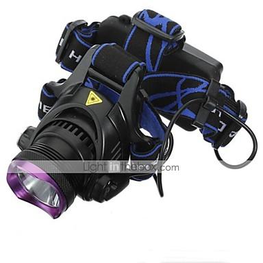 Lanternas de Cabeça Farol Dianteiro LED 1800 lm 3 Modo Cree XM-L2 Com Pilhas e Carregadores Recarregável Impermeável Campismo / Escursão