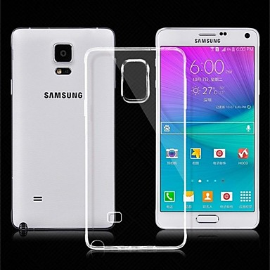 Capinha Para Samsung Galaxy Samsung Galaxy Note Ultra-Fina Transparente Capa traseira Côr Sólida TPU para Note 4