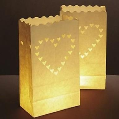 grande em forma de coração de papel luminar cut-out lâmpada de papel (conjunto de 4)