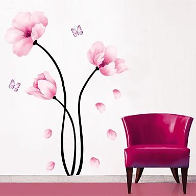 Floral Botânico Adesivos de Parede Autocolantes de Aviões para Parede Autocolantes de Parede Decorativos, PVC Decoração para casa Decalque