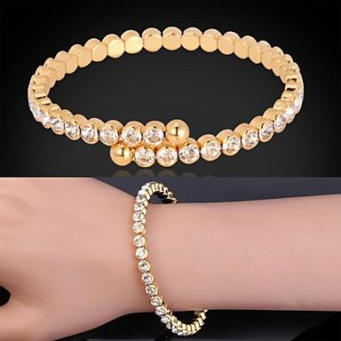 Dames Synthetische Diamant Verguld Gesimuleerde diamant Bedelarmbanden Cuff armbanden Tennis Armbanden - Luxe Cirkelvorm Zilver Gouden