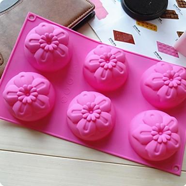 6 buracos 5 pedaço de bolo flor molde de gelo molde da geléia de chocolate