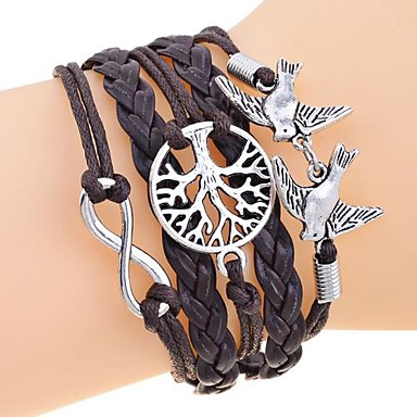 lureme®vintage infinate leven boom vogels gevlochten armband