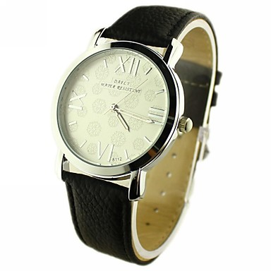 Damen Quartz PU Band Analog Schwarz