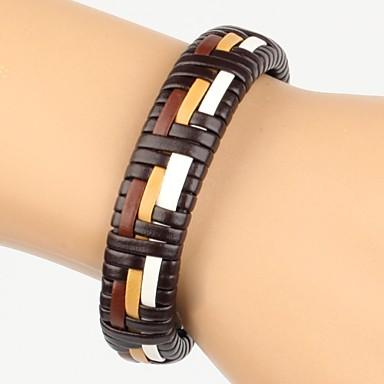 pulseira de couro trançado branco laranja marrom cor dos homens de alta moda (1 peça)