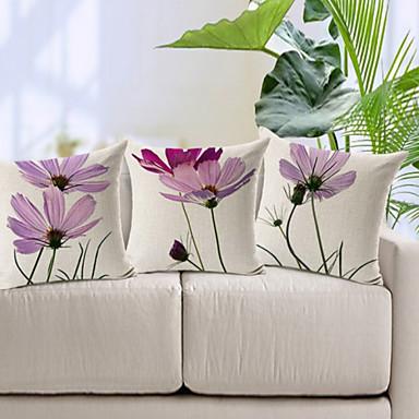 3 pçs Algodão/Linho Cobertura de Almofada, Floral Moderno/Contemporâneo