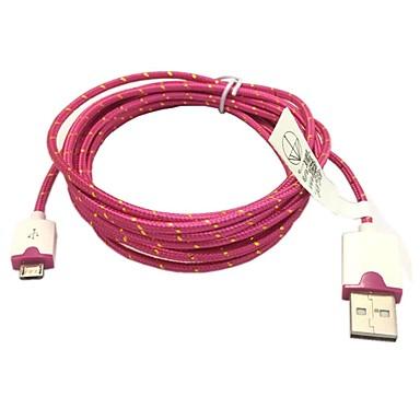 2m 6.6ft împletit micro USB încărcător cablu de date USB de sincronizare pentru Samsung S2 / S3 / S4 HTC Sony lg toate telefoanele Android (Rose)
