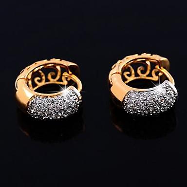 Feminino Brincos Curtos Zircônia Cubica Chapeado Dourado Jóias Para Casamento Festa Diário Casual