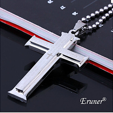 Eruner®Double Cross Silver Bible Titanium Steel Necklace Jewelry