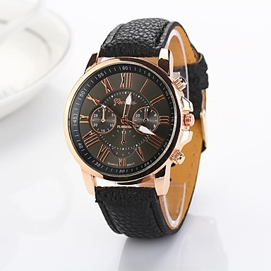Women's Quartz Wrist Watch Casual Watch PU Band Elegant / Fashion Black / White / Blue / Pink