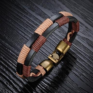 Heren Lederen armbanden Uniek ontwerp Modieus Leder Koper Sieraden Zwart Bruin Zwart/Koffie Sieraden VoorBruiloft Feest Dagelijks Causaal