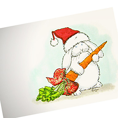 niedliche Hand bemalt Weihnachten Hut Kaninchen Karte