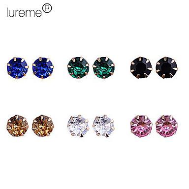 lureme®colorful legering örhängen set (6 par per set)
