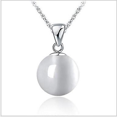 Moda colar de prata de lei 925 opalas redondos simples com colar onda de água