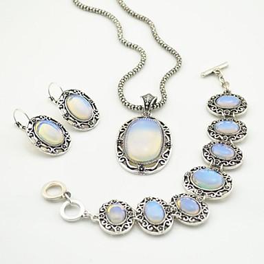 argint antic toonykelly epocă de piatră transparent (cercel și colier si bratara) set de bijuterii