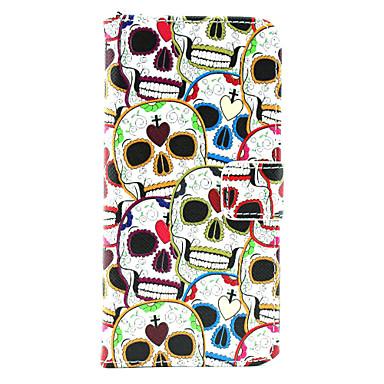 piele iubitor de craniu pu caz corp plin cu suport de card pentru iPhone 6