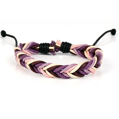 Fashion Braided Bracelet Simple and Comfortable Pink Brown Purple (1 Piece)