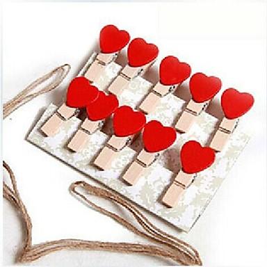 10 stuks houten hartvormige multifunctionele clips (willekeurige kleur)